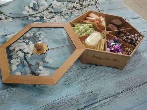Hộp mứt tết gỗ lục giác